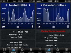 iPhone with Sleep Cycle placed on furniture close to bed